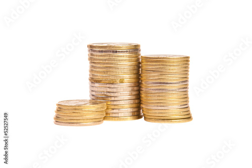 Stacks of coins on a white background