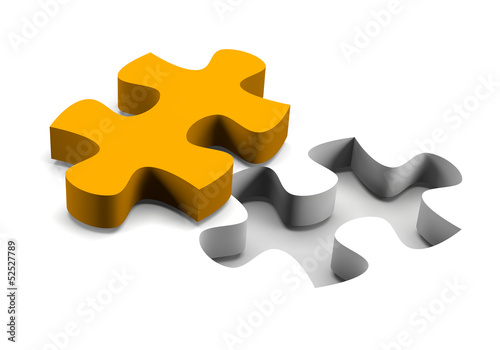 Orange puzzle piece solution concept