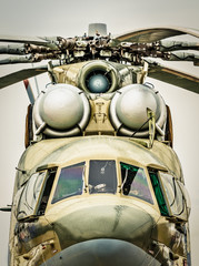 Front view of russian military helicopter.