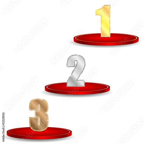set of numbers of gold silver and bronze color decorated by bril