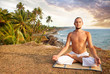 Yoga meditation near the ocean