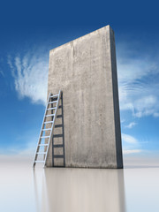 Abstract concrete wall with a ladder