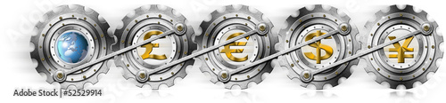 Euro Dollars Pound Yen Locomotive Gears