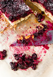 Sweet currant cherry pie with powdered sugar