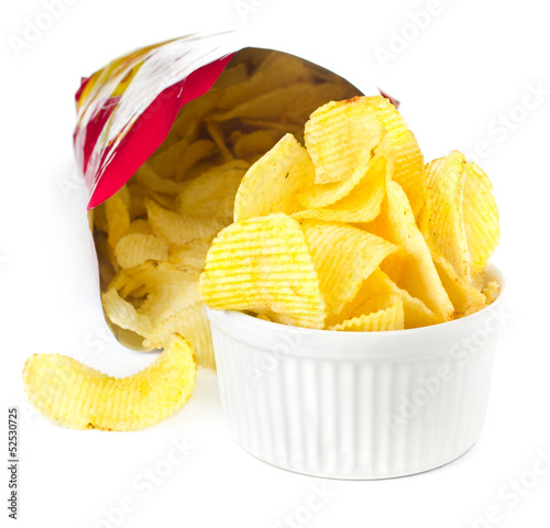 Open bag with potato chips on white background