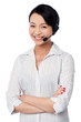 Cute female call centre executive
