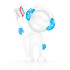 Cute Robot mit der Zahnbürste