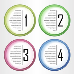 Vector progress icons for four steps / One, Two, Three and Four