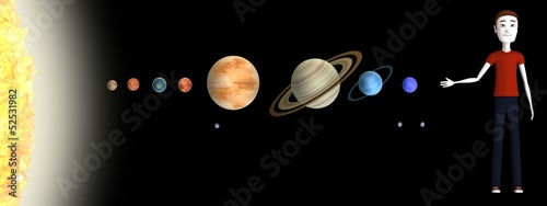 3d render of cartoon character with solar system