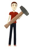 3d render of cartoon character with hammer - for stonework poster