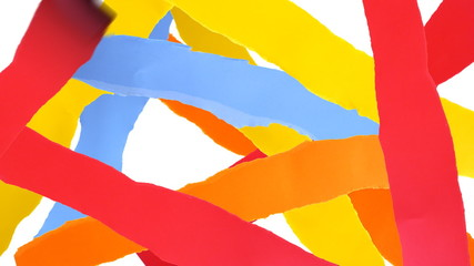 Torn paper strips background.