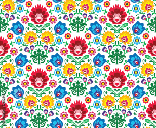 Poster Seamless floral polish pattern - ethnic background