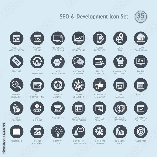 Set of business icons for SEO and development