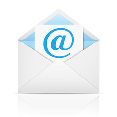 Envelope with paper sheet - concept of email