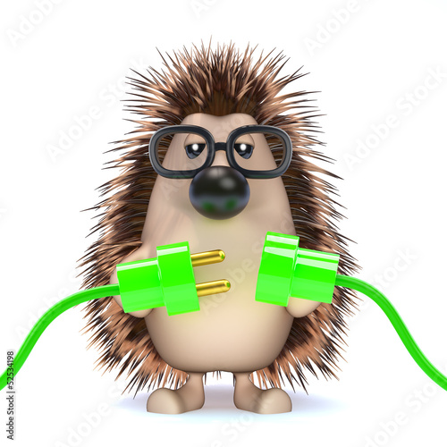 Cute hedgehog makes a green connection