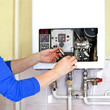 canvas print picture - plumber gas heating
