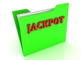 JACKPOT bright red letters on a green folder with papers
