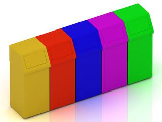 Colorful litter bins ashcan
