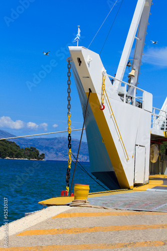 Greek ferry boat at the harbor