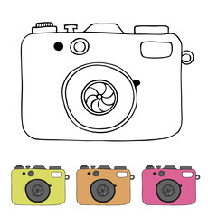 Vector illustration of detailed isolated icons of camera