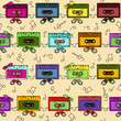 Cassette tapes seamless pattern