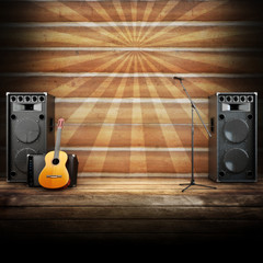 Country music stage or singing background, room for text © storm