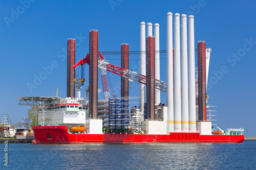 Shipyard in Gdynia with wind turbine installation vessel, Poland