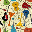 Seamless pattern of guitars