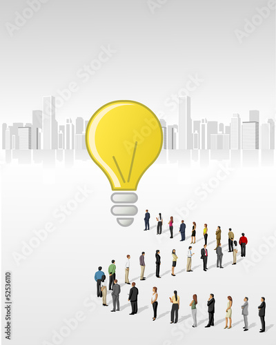 a crowd of business people standing in a line to reach a idea