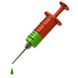 Illustration of injection syringe and green drop