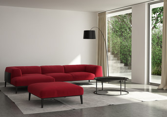 Contemporary elegant living room, red sofa, outdoor view