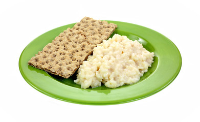 Risotto Rice Cheese Sauce Crispbread Plate