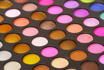 Set of multicolored eyeshadows