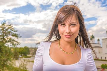 CloseUp Portrait Smiling Brunette Woman Outdoors