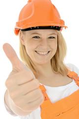 """Freundliche junge Bauarbeiterin """"Daumen hoch"""""""