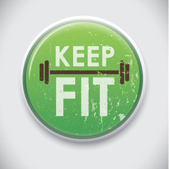 KEEP FIT - Vector Pin / Button Badge