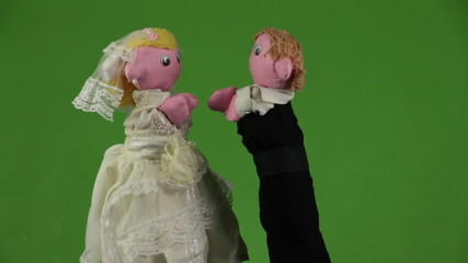 Wedding kiss puppets