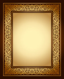 Vintage background, antique ornamental frame, gold ornament