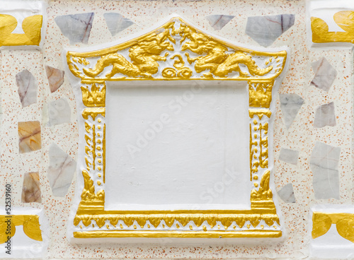 Concrete picture frame using in Thai temple