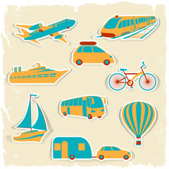 Set of tourist transport stickers.