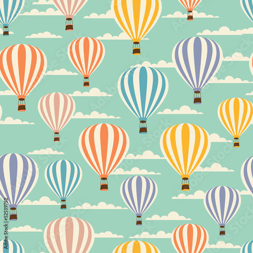 Retro seamless travel pattern of balloons.