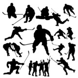 Hockey players silhouette