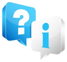 Speech Bubbles Question & Information Blue/White