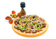 pizza, spices, olives and ketchup on a white background