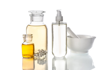 bottles and tools for herbal medicine