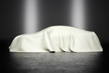 Covered car with studio lighting