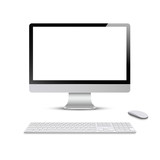 Monitor with keyboard and computer mouse