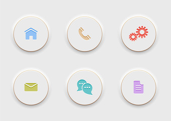 Six computer Icons on round white buttons