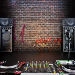 DJ R&B , Rap, or Pop Music stage or singing background © storm