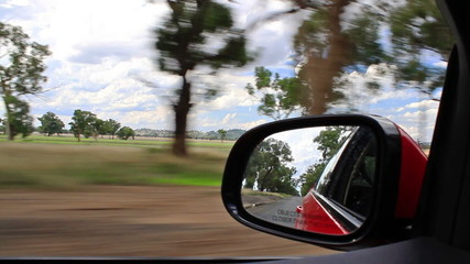driving on the road with mirror
